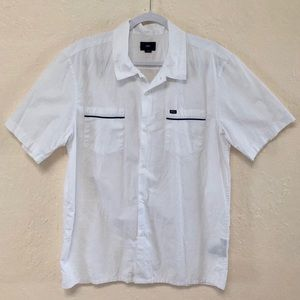 Men's White Short Sleeve Button down shirt